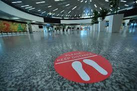 image of social distancing feet floor sticker